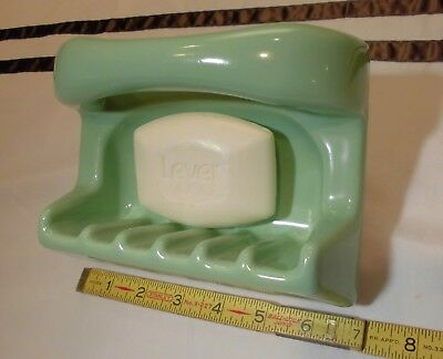 "Vintage  *Green*  Ceramic…Soap Dish with Grab Bar…Art- Deco look...1950's ""NOS"""