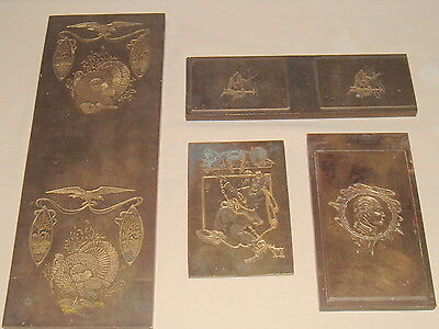 Vintage Lot Of 4 Brass Or Bronze Printing Plates George Washington Eagle +