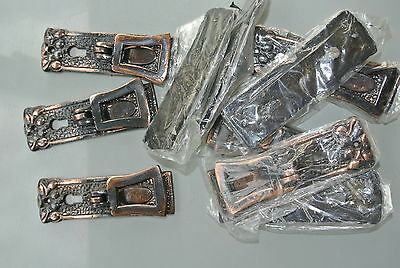 10 aged NEW old style pulls handles heavy brass vintage copper key hole deco