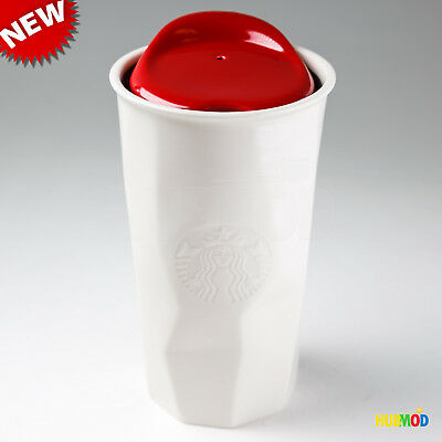 NEW Starbucks Double Wall Faceted White Chiseled Ceramic Tumbler 10 oz Red Lid