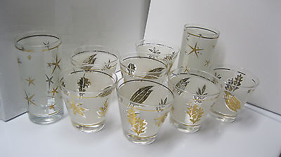 Mid Century Libbey (7) Gold Leaf Frosted Tumblers/2 Bonus Tom Collins