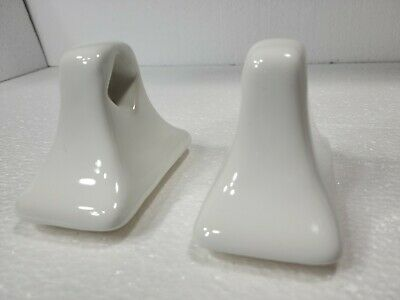 MID CENTURY MODERN Vintage White Ceramic Bath RETRO MCM Towel Bar Holders 2.5""