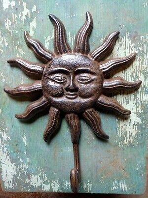 Cast Iron Sun Face Shining Coat Hat Towel Bath Garden Shed Wall Hook Home Decor