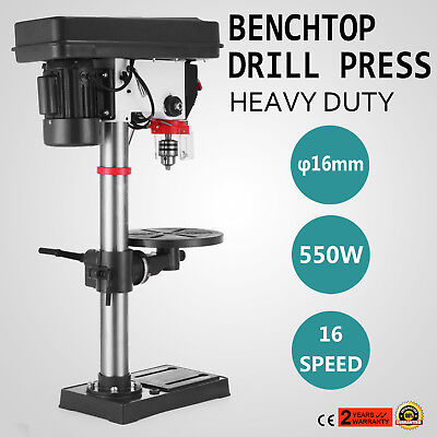 16 Speed Bench-Top Drill 16 mm Drilling Diameter Bench Mount Drill Press 3/4HP