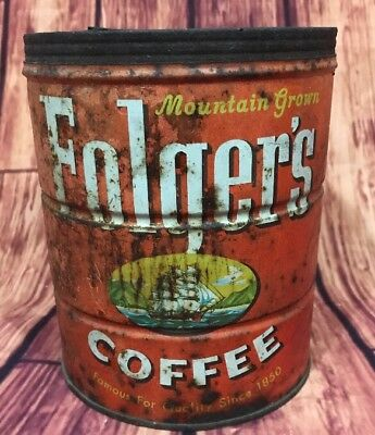 Antique Vintage Folger's Coffee Can