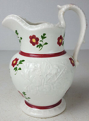 Antique Floral Embossed Pitcher Hand Painted Red Flowers Green Yellow Cute