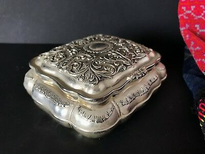 Old Silver Metal Vanity Box …with beautiful red velvet lining