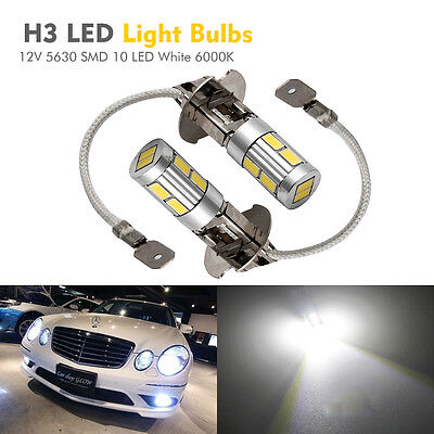 2X H3 5630 SMD 10 LED XENON Lampe Phare Voiture Lumière White 6000K 12V Ampoule