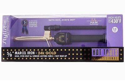 "Hot Tools Professional 1104 5/8""inch Gold Marcel Hair Curling Iron - Brand New"