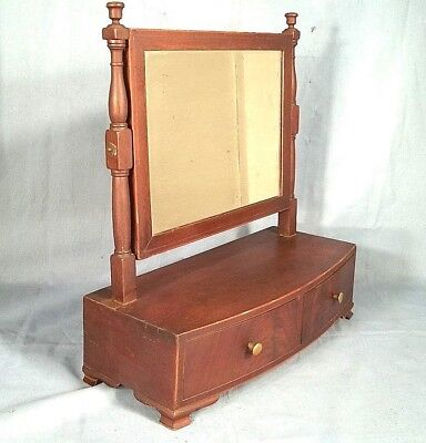 ANTIQUE EARLY 19th CENTURY HEPPLEWHITE BOW FRONT 2 DRAWER SHAVING MIRROR