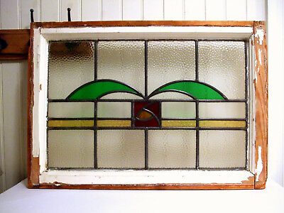 White Antique Leaded Stained Glass Window Deco VTG Country Cottage Arts & Crafts