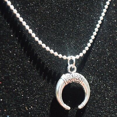 Silver Double Horn Pendant ~ Small Upside Down Crescent Moon Necklace Chain