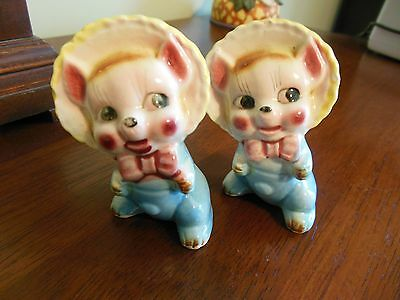 LOT OF 2- Antique Clothed Pigs-Made in Japan-painted Porcelain