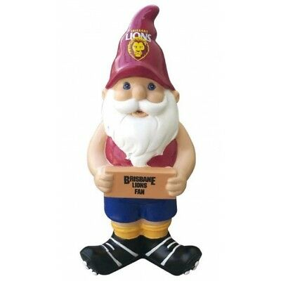 Brisbane Lions Official AFL Garden Gnome with Sign