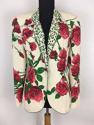 Vtg Dorothy Schoelen Platinum RARE Red Roses with Vines Blazer Jacket Sz Small