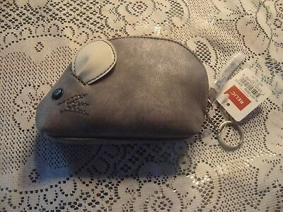 NEW RELIC by FOSSIL TAKEAWAY GRAY MOUSE COIN PURSE CHANGE PURSE WALLET $28 TAG