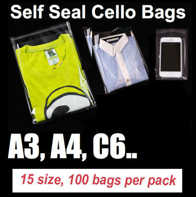 100 Pcs Clear Self Seal Adhesive Candy Bag Cellophane Resealable Plastic A3 A4