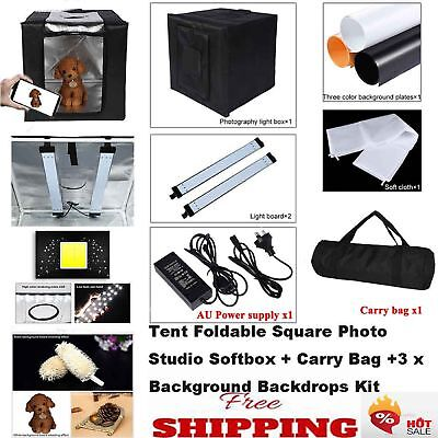 40cm/60cm Tent Square Photo Studio Softbox+LED Light+3xBackground Backdrops Kit