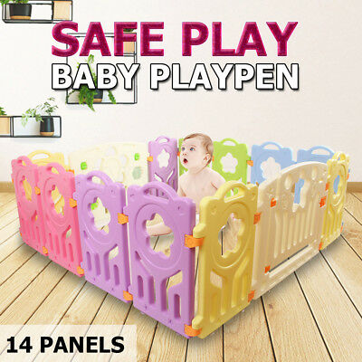 Interactive Baby Playpen Play pen Kids Toddler With Gate Safety Lock 14 Panel
