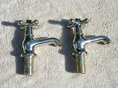 Pair Of Old Brass Sink Basin Taps Hot Cold Reclaimed Shabby Chic Decorative Used