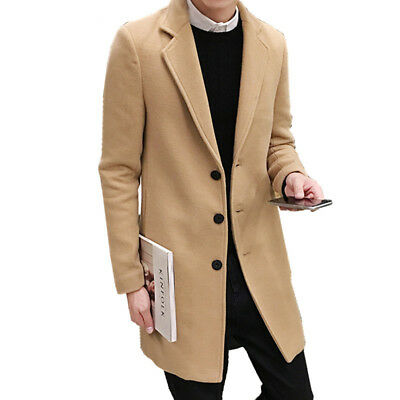 Mens Winter Formal Trench Coat Single Breasted Overcoat Long Wool Jacket Outwear