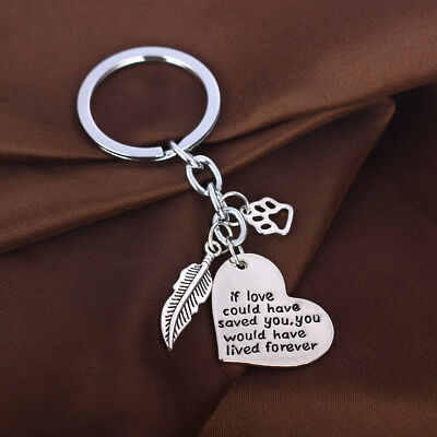 Pet Memorial Love Heart Feather Charm Paw Keyring Keychain Cat Dog Key Chain