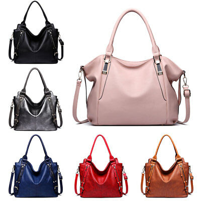 New Ladies Designer Soft PU Leather Handbag Tote Shoulder Bag