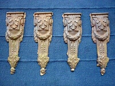 4 Cast Brass / Bronze Classical French Decorative Furniture Appliques / Onlays