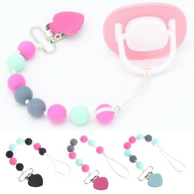Infant Baby Pacifier Chain Silicone Beads Teething Toy Nipple Soother Holder