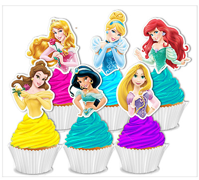 #500. Disney Princesses Half Body Edible Wafer Cupcake Cake Toppers Decorations