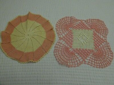 Vintage Lot of 2 Pink & Ivory Doilies