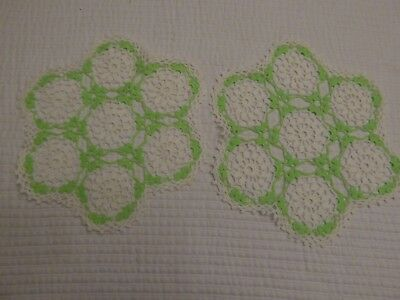 """Lot of 2 Lime Green & White Round Doilies ~11"""""""