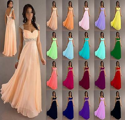 New Long Chiffon Formal Evening Party Ball Gown Prom Bridesmaid Dress Size 6-22