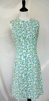 Vintage 1950s 1960s Custom Handmade Sheath Dress Retro Floral