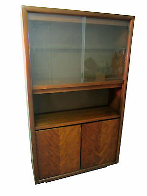 Mid-Century Danish Modern Walnut Sliding Glass Door Bookcase Shelf/Cabinet