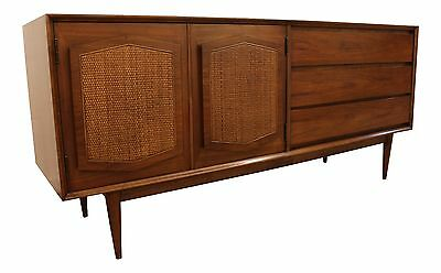 Mid-Century Danish Modern Walnut Pencil Leg Cane Door Credenza #69