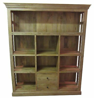 Large Country French Mango Wood Open-Front Cupboard