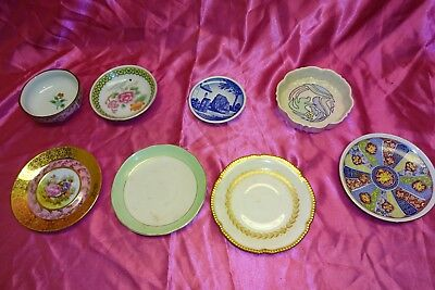 Lot Of 8 Small Bowls & Plates Some Antique Vintage Contemporary Ornate