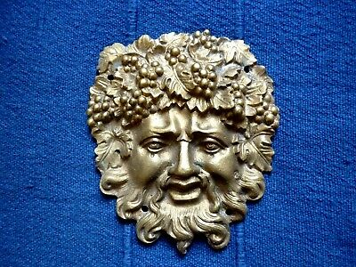QUALITY CLASSIC SOLID CAST BRASS / BRONZE BACCHUS FACE MASK APPLIQUE (Finished)