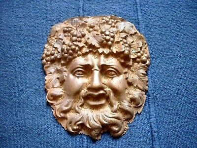 QUALITY CLASSIC SOLID CAST BRASS / BRONZE BACCHUS FACE MASK APPLIQUE. To finish.