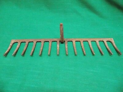 Vintage garden rake head. Farm barn find. Primitive decor. Rusty rustic