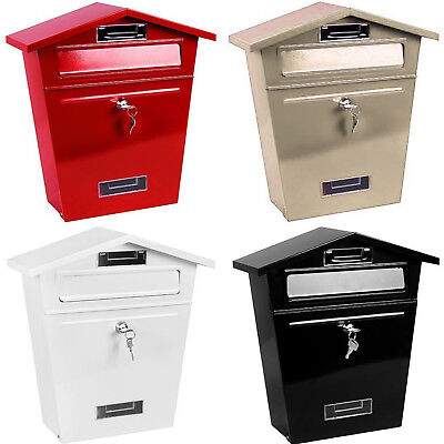 New Large Steel Post Box Postbox Lockable Outside Letter Mail Wall Mounted Keys