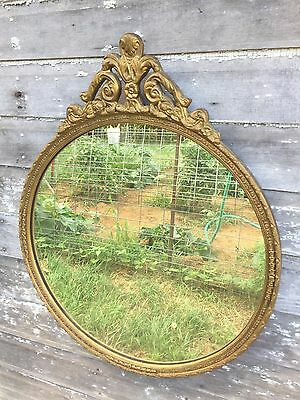 "Vintage Antique Round Wooden Gesso wood Gilt Gold Wall Mirror 31"" Hollywood Rege"