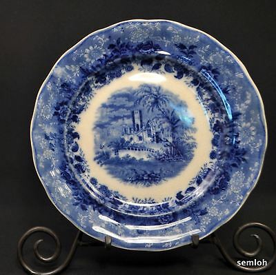 """Burgess & Leigh Hill Pottery Old Castle Floral Plate 1862-1867 Flow Blue 9 3/4"""""""