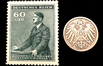 Authentic German WW2 Stamp  & Antique 5 Pf German Coin