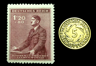 Authentic German WW2 Stamp & Antique 5 Pf Brs German Coin