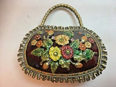 Vintage Miniature Brass and Porcelain Purse with Raised Flowers, Makers Mark