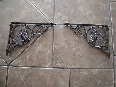 Lot 2  Antique Style Cast Iron Horse Head Shelf Brackets Brace Western Cowboy
