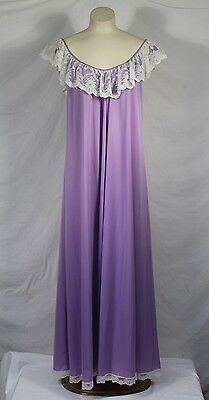 Vintage Lucie Ann Peignoir Robe Full Sweep Nightgown Purple Lace Negligee RARE S