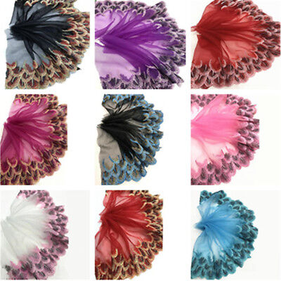 Peacock Feather Embroidery Lace Trims Ribbon Tulle Fabric Sewing Wedding Dress